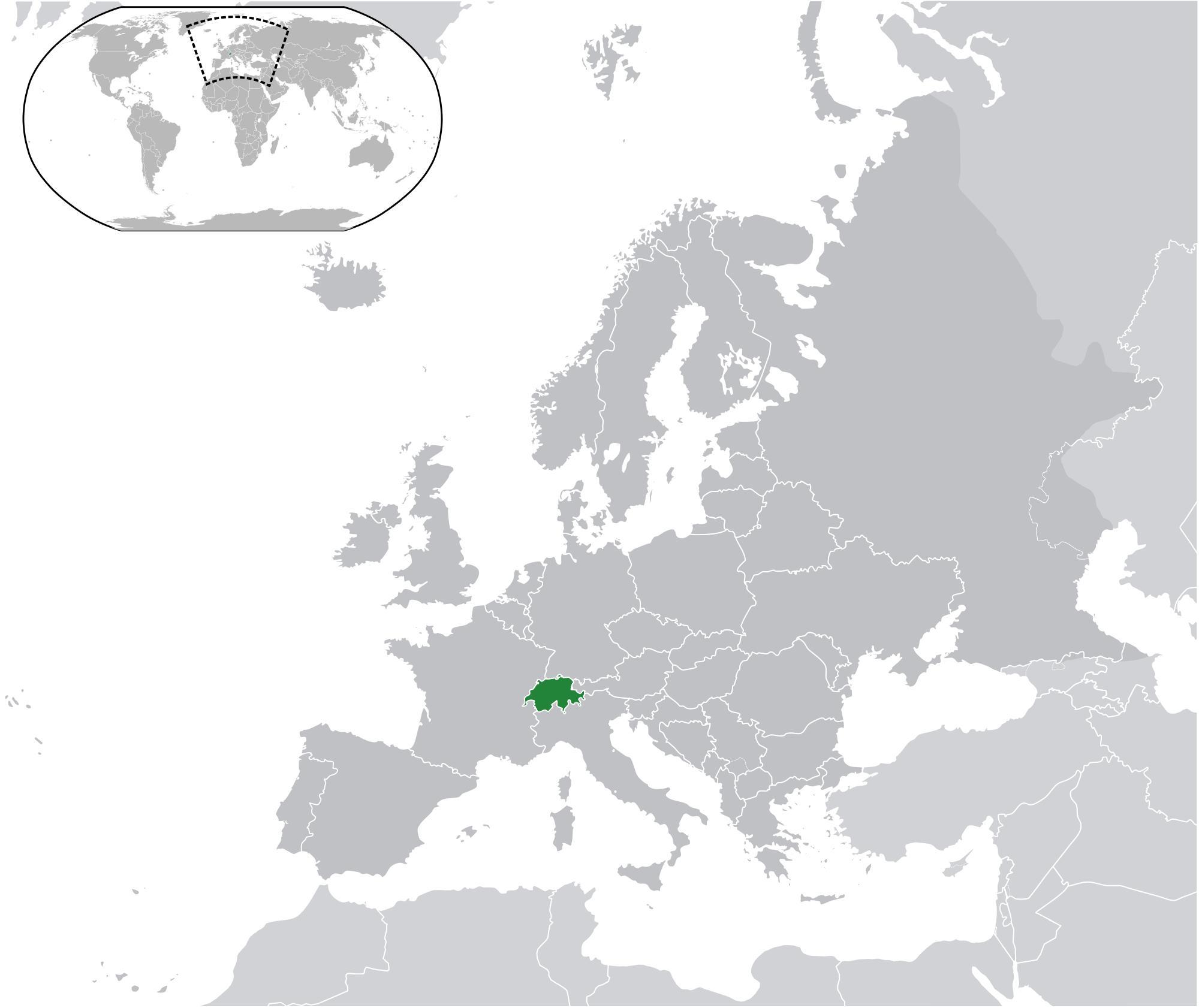 Karta Varlden Europa.Schweiz Pa Varldskartan Schweiz Karta Pa Varlden Vasteuropa Europa