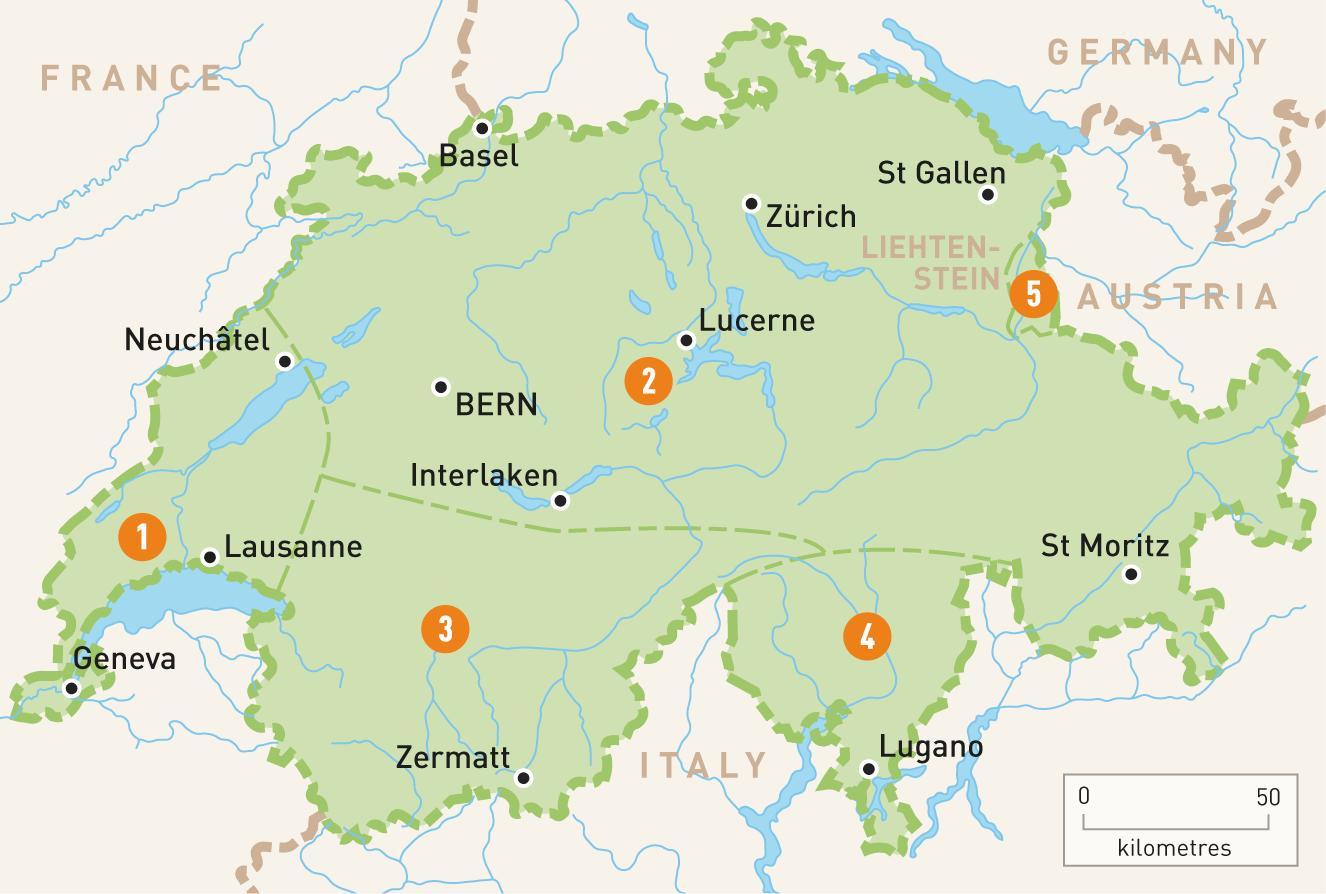 Karta Italien Regioner.Schweiz Regioner Karta Karta Over Schweiz Regioner Vastra Europa